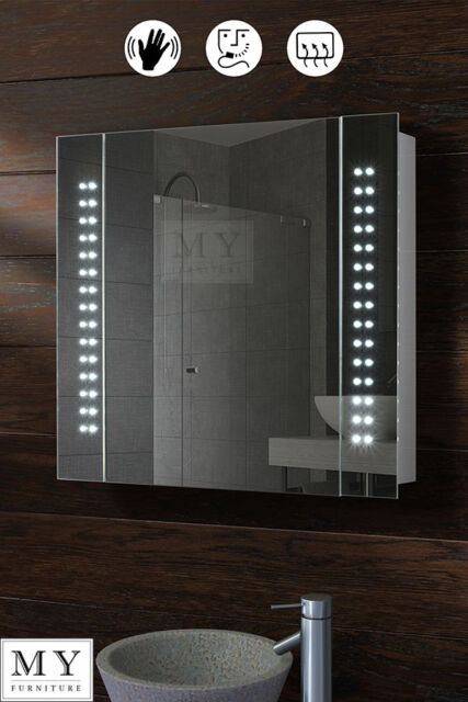 60 X LED ILLUMINATED BATHROOM MIRROR CABINET SHAVER DEMISTER SENSOR GALACTIC