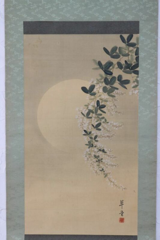 HANGING SCROLL JAPANESE PAINTING JAPAN MOON Autumn grass VINTAGE PICTURE d958