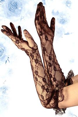 Sexy erotische Dessous Spitzen Handschuhe schwarz lang mit Rüsche Wäschebeutel