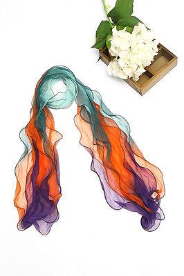 Layer Scarf - Long Three-Layer Silk Scarf Orange Blue and Green