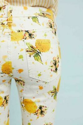 Anthropologie Pilcro White Lemon Print High-Rise Bootcut Crop Jeans Size 27 High Rise Bootcut Jeans