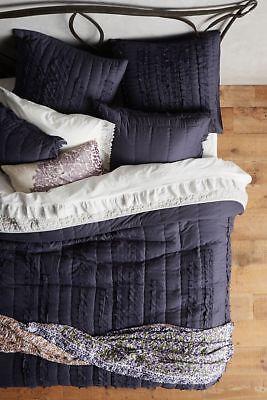 Anthropologie Draped Wisteria Lola Euro Sham Navy Blue 100% Cotton New