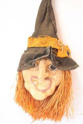Vintage Paper Mache Halloween Witch Wall Hanging Halloween Decorations Straw - Halloween Decorations Paper Mache