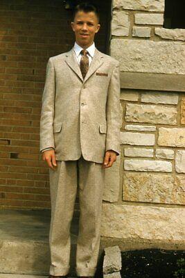 1950s Mens Suits & Sport Coats   50s Suits & Blazers Kodak Slide 1950s Red Border Kodachrome Man in Biege Suit Outside House $19.99 AT vintagedancer.com