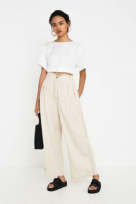 House Of Sunny Pleats Linen Blend Wide Leg Trousers Almond Milk Size 6 Bnwt