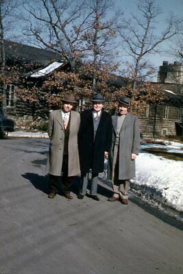 1950s Mens Suits & Sport Coats   50s Suits & Blazers 35mm Slide 1950s Red Border Kodachrome Three Men in Suits and Hats $17.99 AT vintagedancer.com