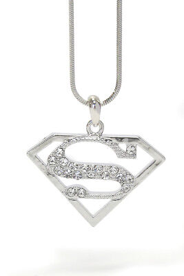 Superman necklaceebay 1 new superman emblem crystal pendant necklace white gold mozeypictures Gallery