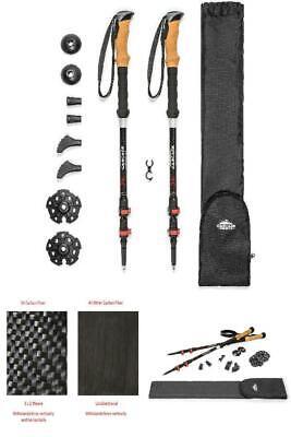 Outdoor Trekking Pole Adjustable Walking Sticks Hiking Accessory Black #S5