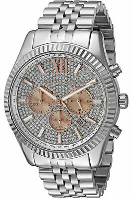 New Michael Kors Lexington Rose Gold Pave Dial MK8515 Mens Steel 44mm Watch