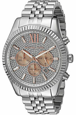 New Michael Kors Lexington Rose Gold Pave Dial MK8515 Mens Steel 44mm (Michael Kors Mens Gold)