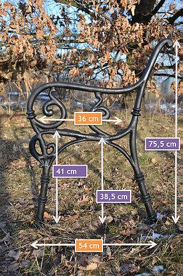 4 Bretter-ZAG17 2 schöne Bankfüße Seitenteile Gartenbank aus Gusseisen Schwarz
