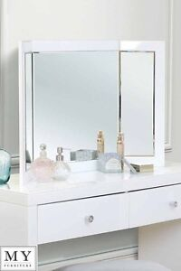 COLLETA - Triple Folding white glass dressing table mirror - (ID:18513)