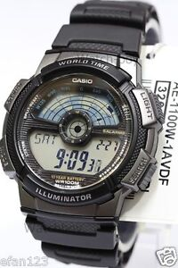 AE-1100W-1A Black Casio Men's Watches Sport Stopwatch Resin Band Brand-New