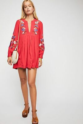 NWT FREE PEOPLE Mia Gauze Embroidered Mini Dress in Red $128 - L