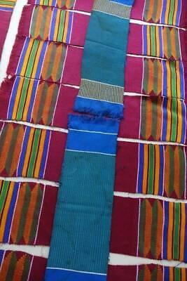 Vintage Ghana Kente hand woven cotton silk fabric pces x 10  A.E.Asare Dento #B