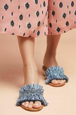 A2 NEW SOLUDOS ANTHROPOLOGIE Blue Fringe Panarea City Slide Sandal Shoes Sz 7.5