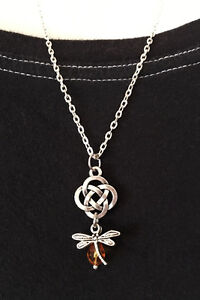 Outlander Silver Celtic Knot Cross Dragonfly in Amber Scottish Irish Necklace