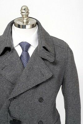 Mens DOLCE & GABBANA Gray Melange Wool DB Pea Coat Jacket 56 46 2XL / XL NWT