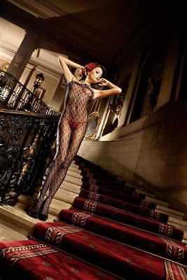Lace Ruffle Bodystocking - Sexy & Stylish Back Lingerie Ruffle Lace Fleur Bodystocking - One Size