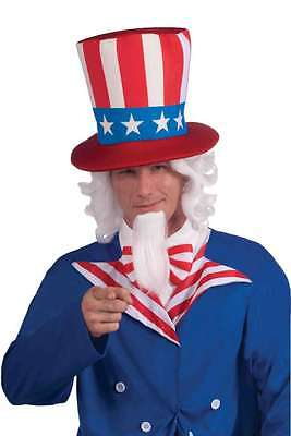 Uncle Sam Wig & Beard Set White Synthetic Fiber Costume Wig & Chin Beard