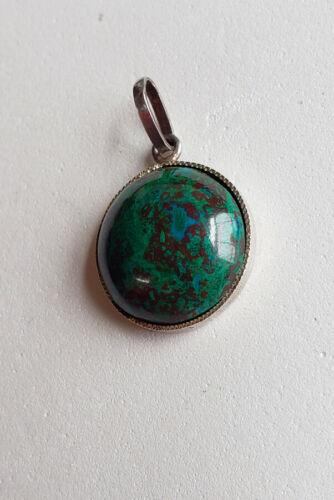 Pretty Vintage Green Malachite / Blue Azurite Silver Pendant