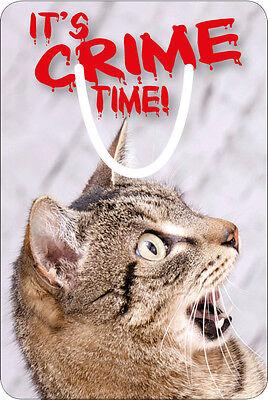 Edles Aluminium Metall Lesezeichen witzige Katze It's crime time, Krimi Spannung