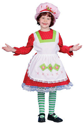 Fairy Tale Country Girl Costume Dress With Strawberry Accent Apron Attached