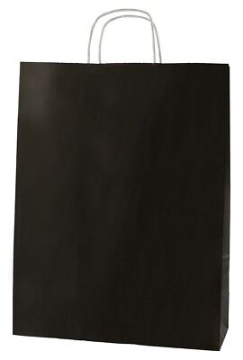 20 BLACK TWISTED HANDLE KRAFT PAPER CARRIER BAGS - LARGE 12.5