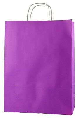 20 PURPLE TWISTED HANDLE KRAFT PAPER CARRIER BAGS - LARGE 12.5