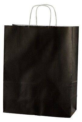 20 BLACK TWISTED HANDLE KRAFT PAPER CARRIER BAGS - MEDIUM 10