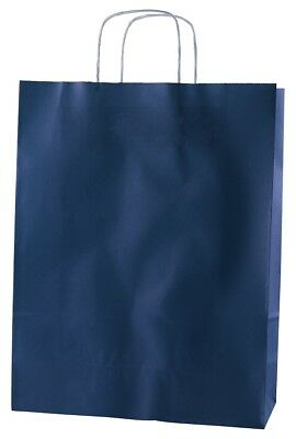 20 BLUE TWISTED HANDLE KRAFT PAPER CARRIER BAGS - LARGE 12.5
