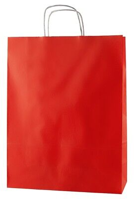 20 RED TWISTED HANDLE KRAFT PAPER CARRIER BAGS - LARGE 12.5