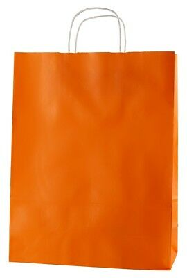 20 ORANGE TWISTED HANDLE KRAFT PAPER CARRIER BAGS - LARGE 12.5