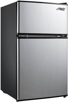 - Stainless Steel 3.2 Cu Ft 2-Door Mini Fridge W/ Freezer Energy Efficient Cooler