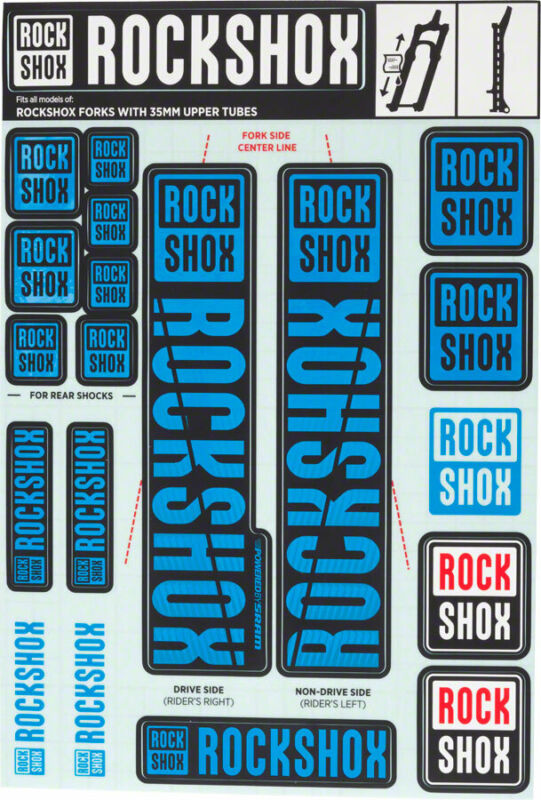 Decal Kit - RockShox Decal Kit, 35mm, Blue - Sticker/Decal