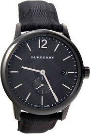 Burberry Men's BU10010 Check Stamped Round Dial Watch, 40mm