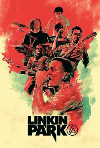 """LINKIN PARK """"RED TINT COLLAGE OF BAND"""" POSTER FROM ASIA - Alt Metal Music"""