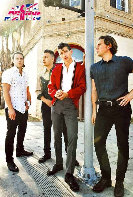 "ARCTIC MONKEYS ""GROUP STANDING BY POLE"" POSTER FROM ASIA - U.K. Indie Rock Music"