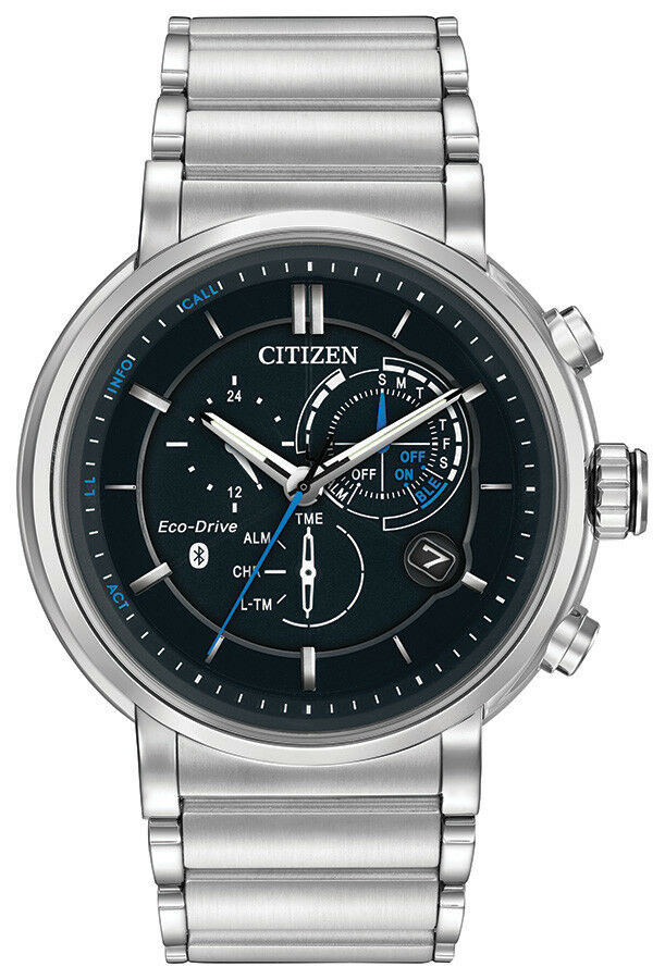 Citizen EcoDrive Mens Proximity Bluetooth SilverTone 46mm Watch BZ100054E