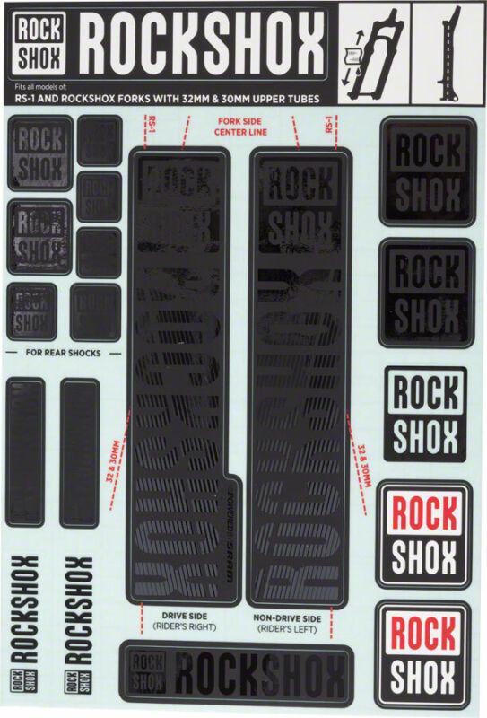 Decal Kit - RockShox Decal Kit, 30/32mm, Stealth Black - Sticker/Decal