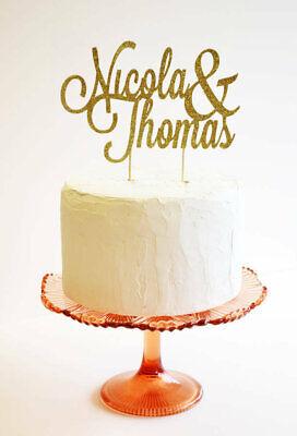 Gold Glitter Personalized Wedding Celebration Birthday Cake Topper Decoration