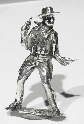 Big Vintage Solid 925 Silver 1 of Kind Miniature Statue of John Wayne 6 Shooters
