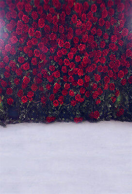 Red Flower Photo - Vinyl Red Rose Flower Photo Backdrop Studio 5x7ft Photography Background Props