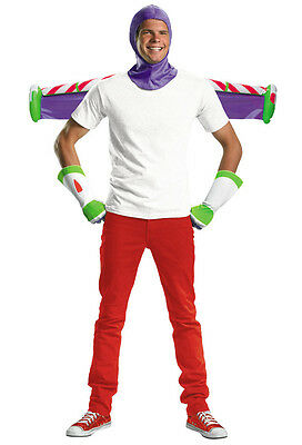 Jetpack Halloween Costume (DISNEY TOY STORY BUZZ LIGHTYEAR ADULT COSTUME KIT SET GLOVES HOOD JET PACK 3 PC)