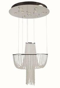 Gen Lite Cascade 10 Light Chrome Pendant with Crystal Strand. Ceiling Chandelier. Adjustable 58Hx 27.5 D x 30.6L. NEW