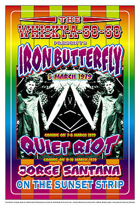 Psychedelic: Iron Butterfly & Quiet Riot at Whisky A Go Go  Concert Poster  1979