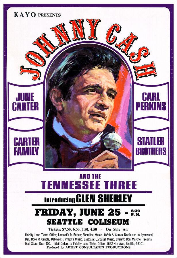JOHNNY CASH JUNE CARTER CARL PERKINS STATLER BROS 1971 Seattle Concert Poster - $12.99