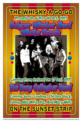 1970's Rock: Edgar Winter & White Trash  at  Whisky A Go Go Concert Poster 1971