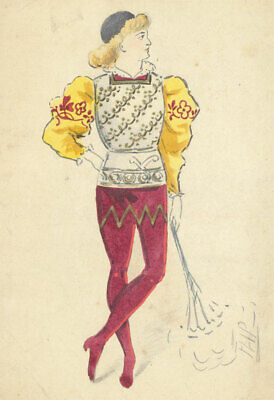 Flip - Early 20th Century Watercolour, Courtly Costume Design (20th Century Costume Designer)