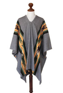 Men's Alpaca Poncho Gray/Multicolor Wool Blend 'Silver Skies' NOVICA Peru